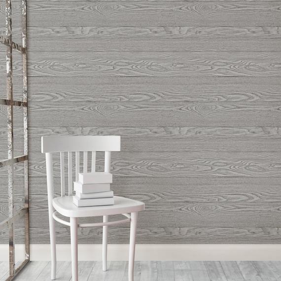 Peel and Stick Charcoal Grey Shiplap Rustic Wood Plank Farmhouse Wallpaper Gray