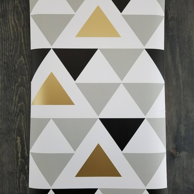 Or gris noir et blanc Chic géométriques Triangle peler et | Etsy
