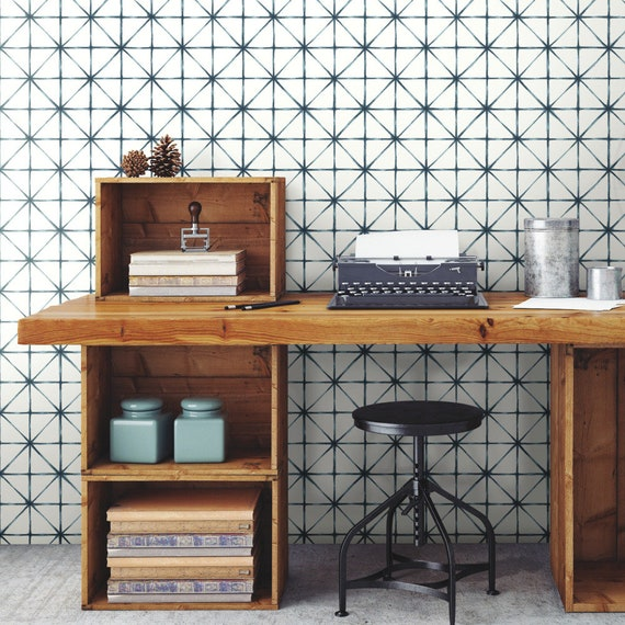 Roommates Modern Abstract Geometric Peel and Stick Wallpaper Blue White DIY  RMK10844WP