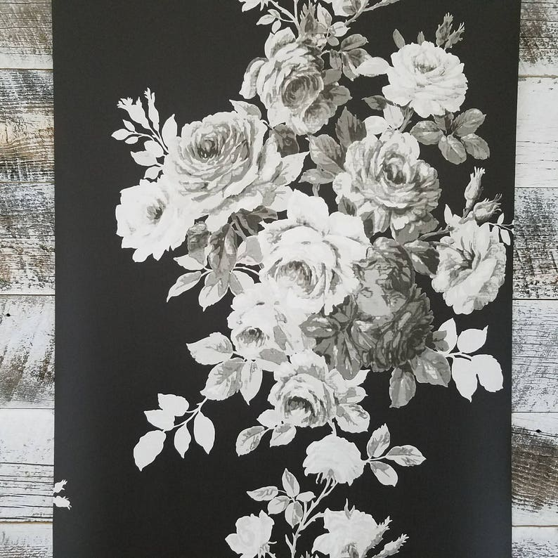 York Wallcoverings Magnolia Home Tea Rose Gray White Black Etsy