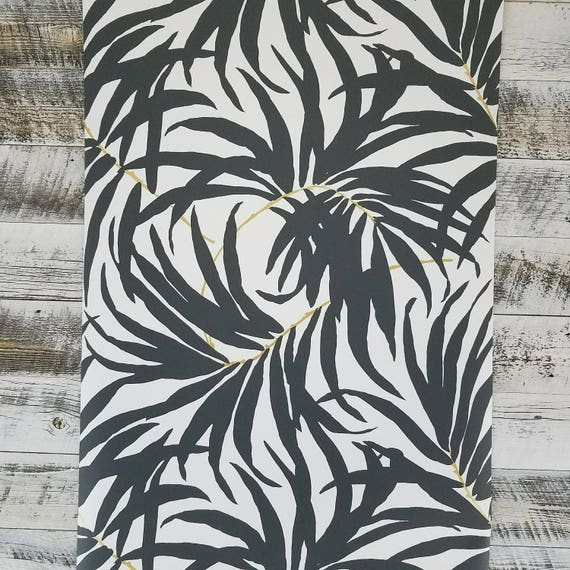 York Bali Tropical Matte Black And White Leaves Wallpaper Bohemian Metallic At7056