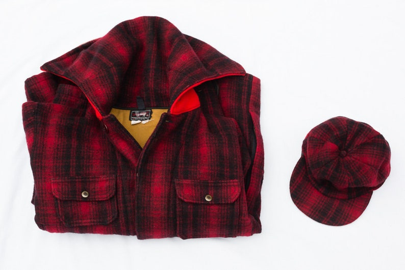 8d06aef8177 Vintage 1950 s Woolrich Hunting Jacket With Matching Hat