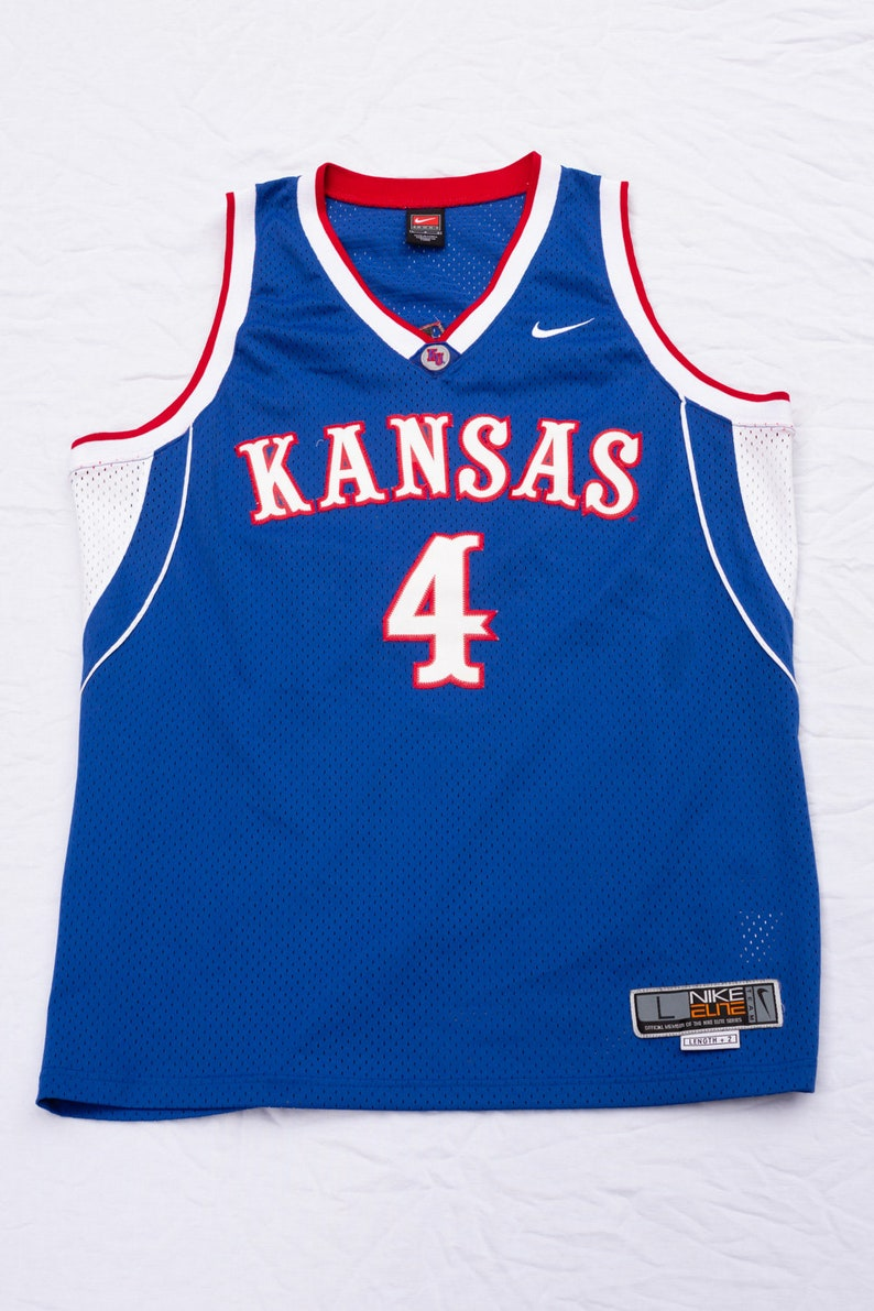 more photos b5dbc a434b Vintage 90s Nike Kansas Basketball Jersey - 90's Nike Elite Team Kansas  Jayhawks #4 - Number 4 - Large - Blue White Tank Top Sport Sports