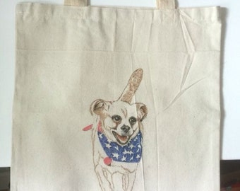 Commission art - hand drawn tote bag of your pet