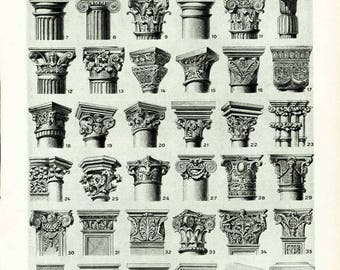 1933 Antique Chapiter Forms Print Capital Column Pilaster Architectural Doric Corinthian Ionic Composite Gothic Order Wall Art