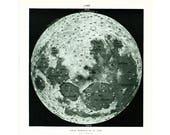 1933 Vintage Moon Print. Moon map print. Authentic Framable Art. Larousse, Paris, France.