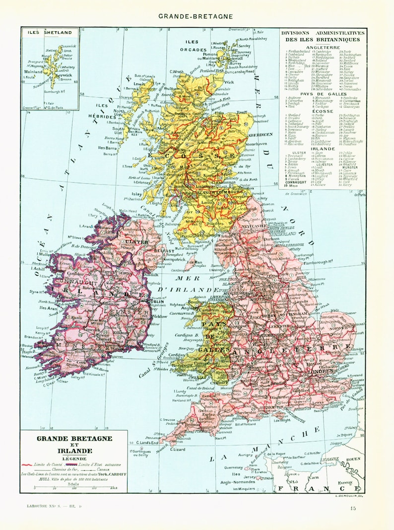 1933 British Isles Map. Physical Map. Great Britain Antique Maps | Etsy