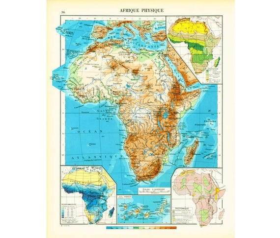 Map Of Africa 1950.1950 Antique Map Of Africa African Continent Vintage Map Topographic Relief Of Africa Climatic Map