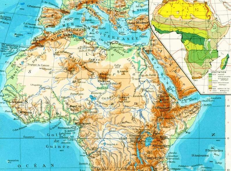 Carte Afrique Physique.1965 Carte Afrique Physique Carte Climatique Tectonique Vegetation Planche Originale Atlas Geographie