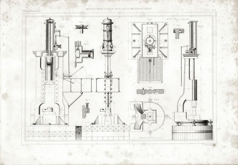 1848 Steam Hammer Forge Smithy Machine Patent Print Withworth Tools Metal Work Original Engraving  Design Industrial Armengaud Paris
