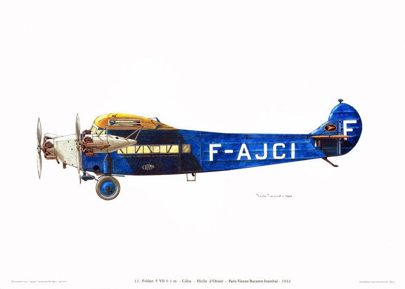 1970 Vintage Fokker Airplane Print  Antique Aircraft illustration  French  Biplane Airliner Aviation  Historical Flying Flight