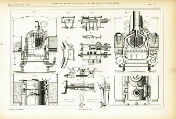 1879 Gravur Alten Plan Zeichnen Zusammengesetzte Lokomotive Etsy