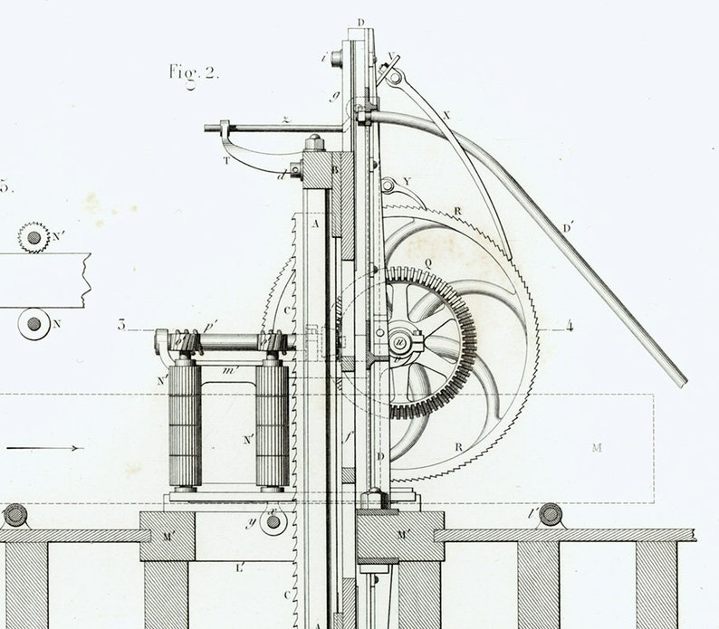 1843 Sawmill, Woodworking Saw, Lumbering Sawmill, Logger work, Original  Engraving, Technical Design, Industrial Style, Antique Patent