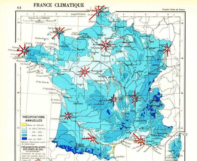 Regionen Frankreich Karte.1965 Frankreich Klimakarte Karte Der Französischen Regionen Board Atlas Geographie Grand Originalformat