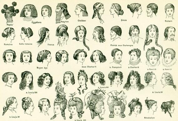 1897 Coiffures, Cheveux, Histoire de la coiffure, Mode, Planche originale,  Larousse Illustration Grand Format, 19ème siècle