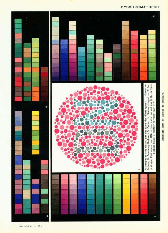 1952-Farbenblindheit Dyschromatopsia. Auge-Anatomie