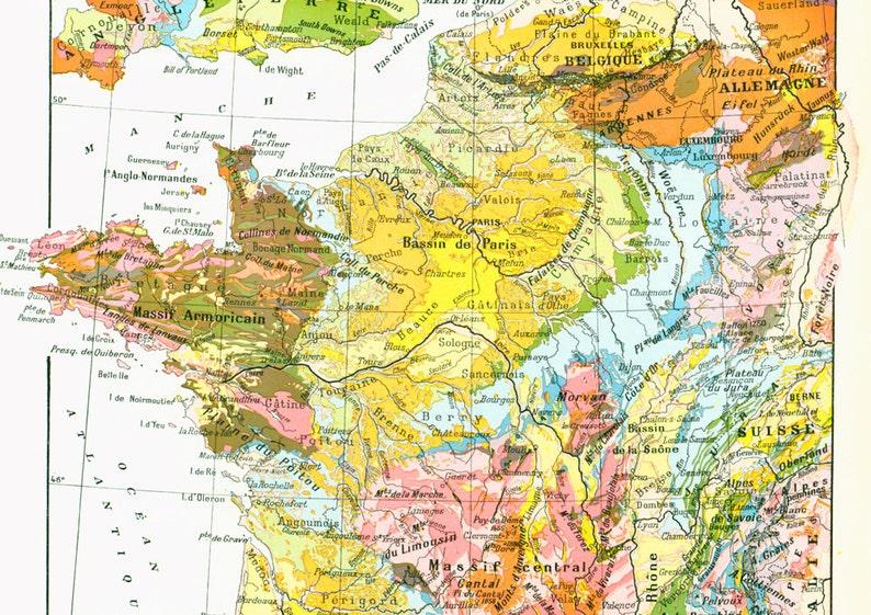 Carte Geologique Australie.1933 Carte Geologique France Ancienne Planche Larousse Etsy