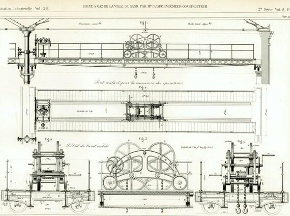 1882 Antique Bridge crane Print. Portal Frame Iron Buildings | Etsy
