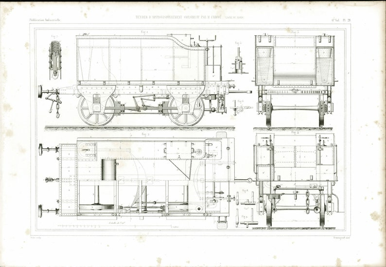 1848 Antique Locomotive Drive Whell Covered Goods Wagon Original Patent  Engine Mechanics Art Plans Original Engraving Industrial Design