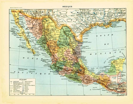 1897 Antique Map of Mexico United Mexican States Larousse Print Large Size  115 YEARS OLD History Decor Wall Art
