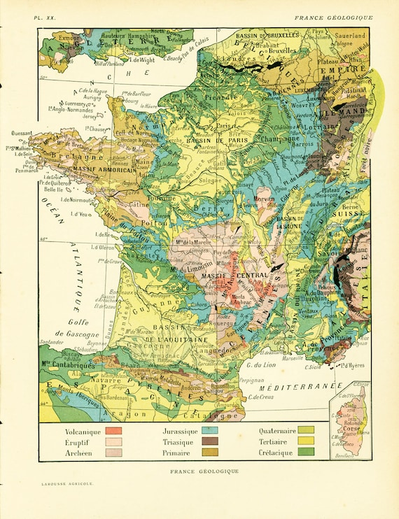 1922 France Map, Large size Antique Print, Physical and geological, French  Larousse, 100 Years Old History Decor Wall Art