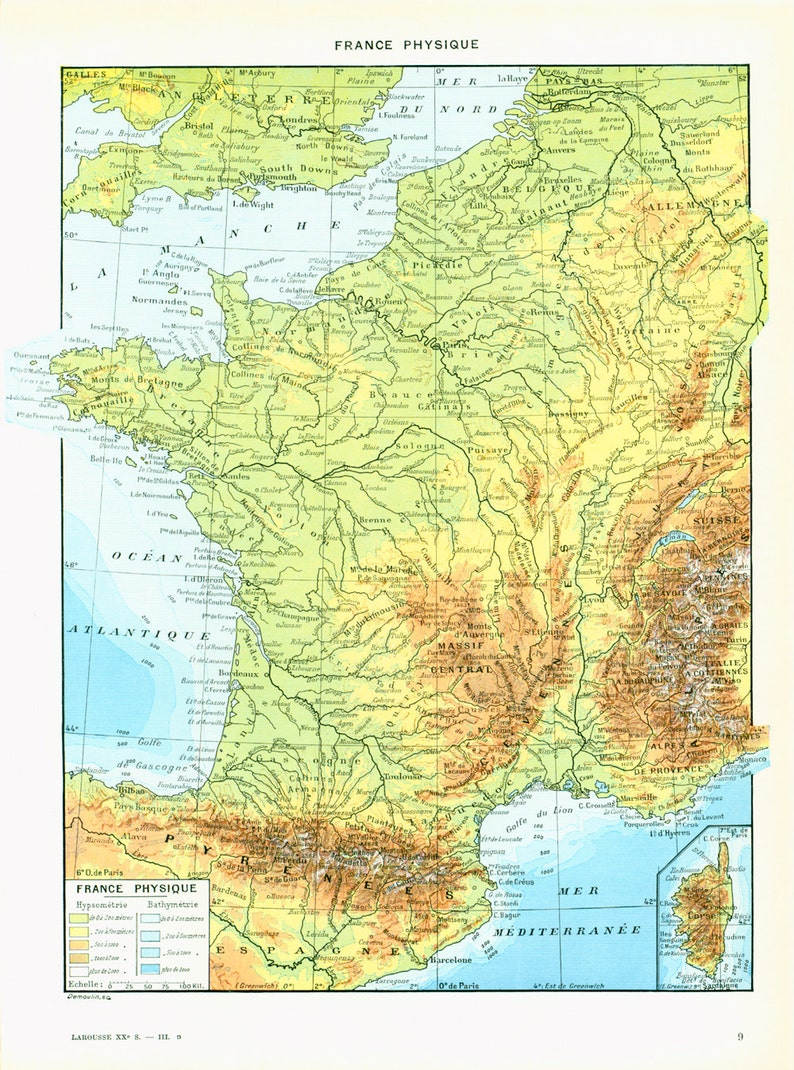 Geographical Map Of France.1933 Antique Map Of France Antique French Map Encyclopedia Larousse Geographical Wall Art Vintage Map
