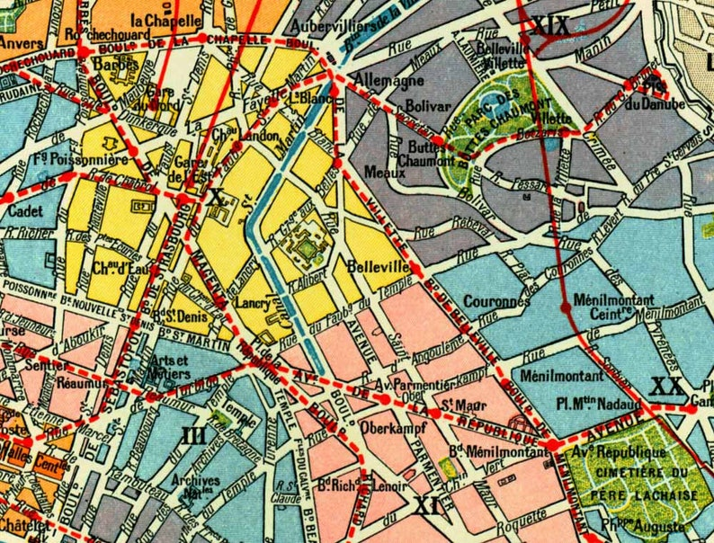 1897 Plan de Paris Planche Originale Larousse Ville de | Etsy