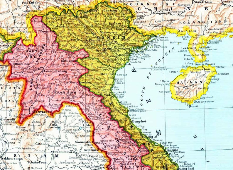 World Map 1933.1933 Indochina Map Vietnam French Colonial Empire Original Etsy