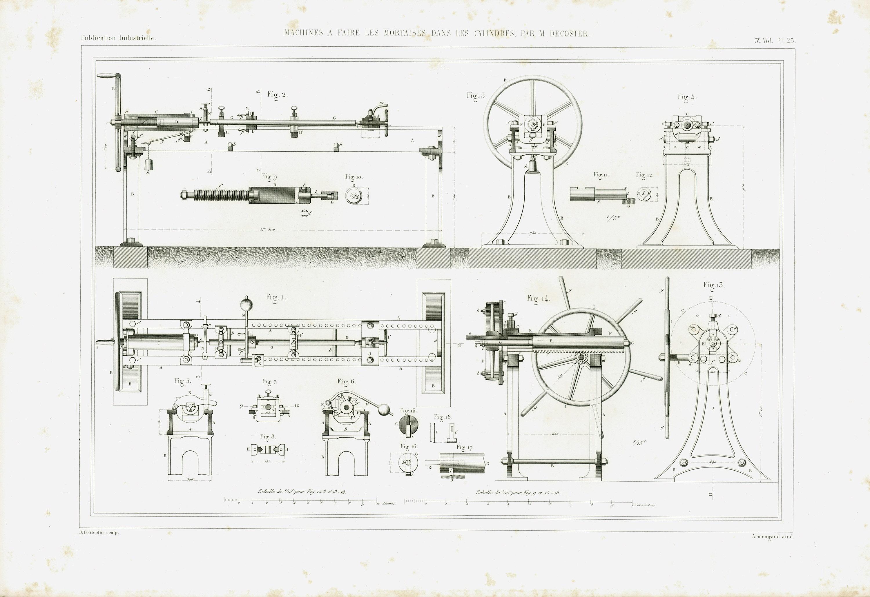 1843 Antique Wood Lathe Shaper Patent Print Mortise And Tenon Original Mortiser Engraving Technical Design Industrial Armengaud Paris