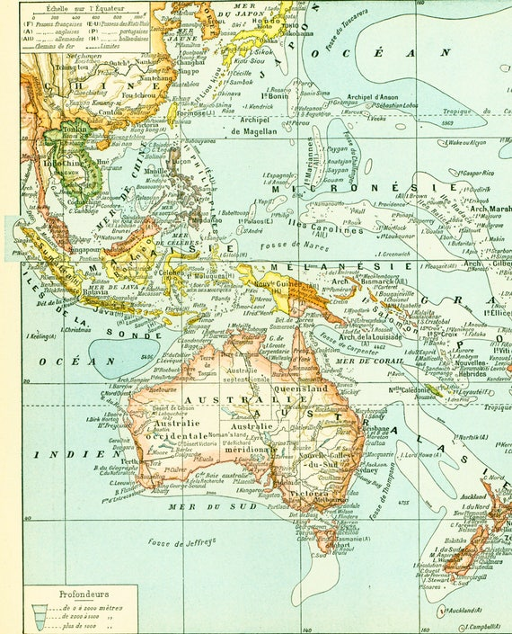 1897 South Pacific map. Oceania Australia vintage map. Large Size maps