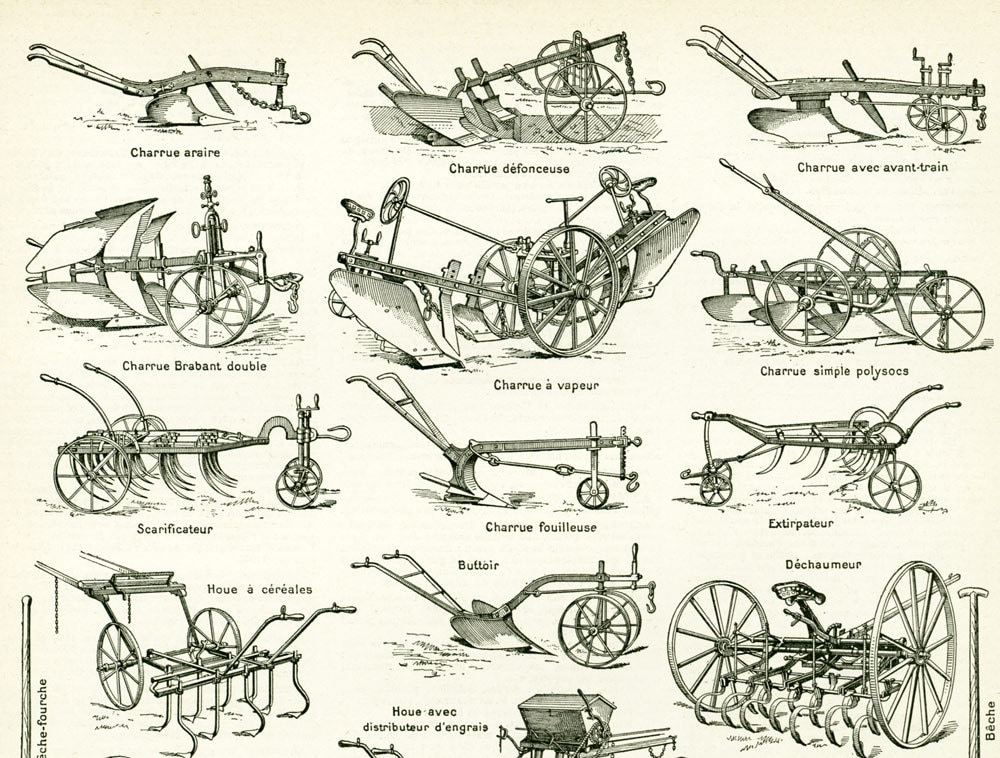 1897 materiel agricole ancien collection charrue semoir etsy. Black Bedroom Furniture Sets. Home Design Ideas