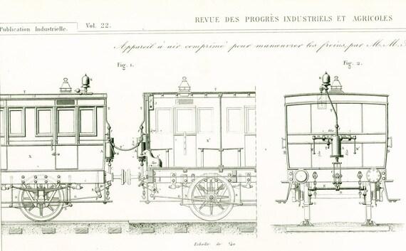 1853 Zug Bremsen Alten Plan Zeichnen Gravur Systems Etsy