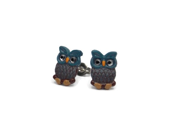 Owl Earrings - Owl Stud Earrings - Owl Gifts - Blue Stud Earrings - Gift Ideas for Her - Owl Themed Gifts - Cute Stud Earrings Polymer Clay