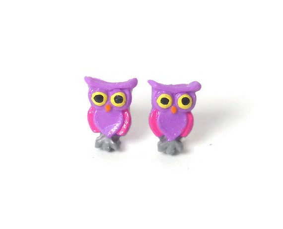 Owl Earrings - Pink and Purple Earrings - Polymer Clay Owls - Owl Jewelry - Owl Gifts - Hypoallergenic Earrings - Tiny Stud Earrings - Cute