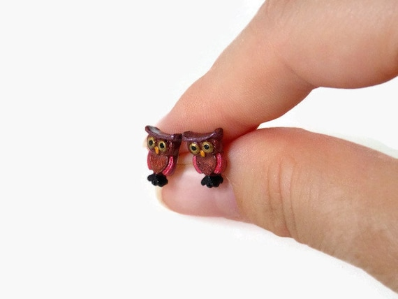 Owl Earrings - Brown Stud Earrings - Polymer Clay - Owl Jewelry - Nature Earrings - Animal Earrings - Woodland Earrings - Earthy Earrings
