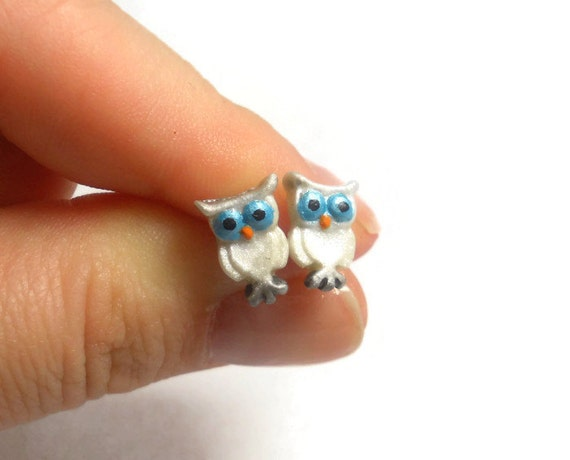Owl Earrings - Bird Earrings - Owl Jewelry - Owl Stud Earrings - Snowy Owls - Hypoallergenic Earrings - White Owl Earrings - Animal Jewlery