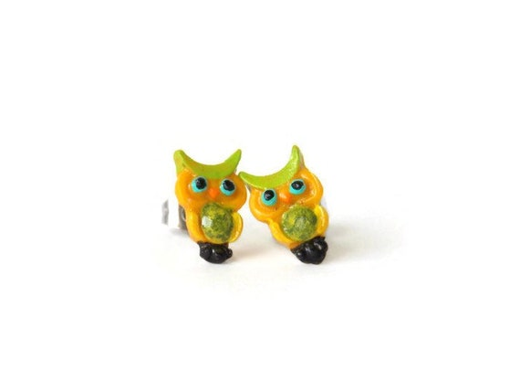 Owl Earrings - Bird Stud Earrings - Owl Studs - Yellow Stud Earrings - Green Stud Earrings - Owl Jewelry - Cute Stud Earrings - Bird Studs