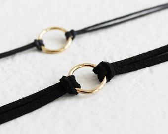 O-ring black suede choker, o-ring collar