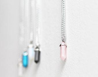Rose quartz crystal healing stone necklace chakra