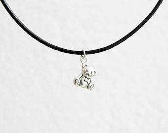 Teddy bear necklace, bear choker