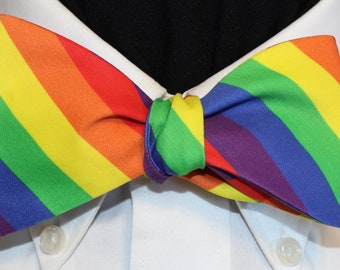 RAINBOW PRIDE and allies: Organic Cotton Sateen Bow Tie, for all gender identities, Vibrant Rainbow stripe, LGBTQ Pride