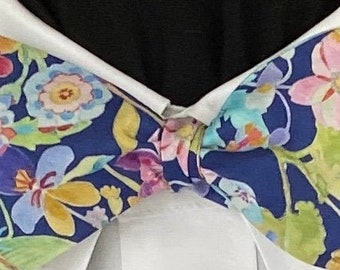 BRILLIANT BLOOMS Bow Tie: Liberty London cotton, for the well-dressed; brightly colored blossoms on a royal blue background.