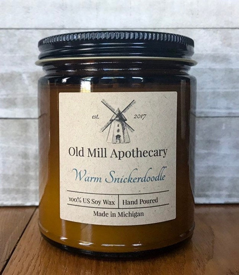 Natural Soy Wax CandleAmber Glass9 oz.Old Mill Apothecary