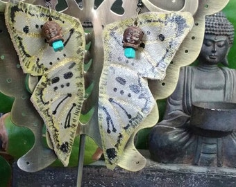 Butterfly handmade leather earring!  Gray Gold Bold  Buddha and ready to fly just to you !