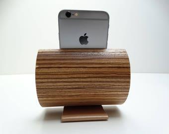 Big phone holder in wood zebrano, iphone holder, i phone holder,