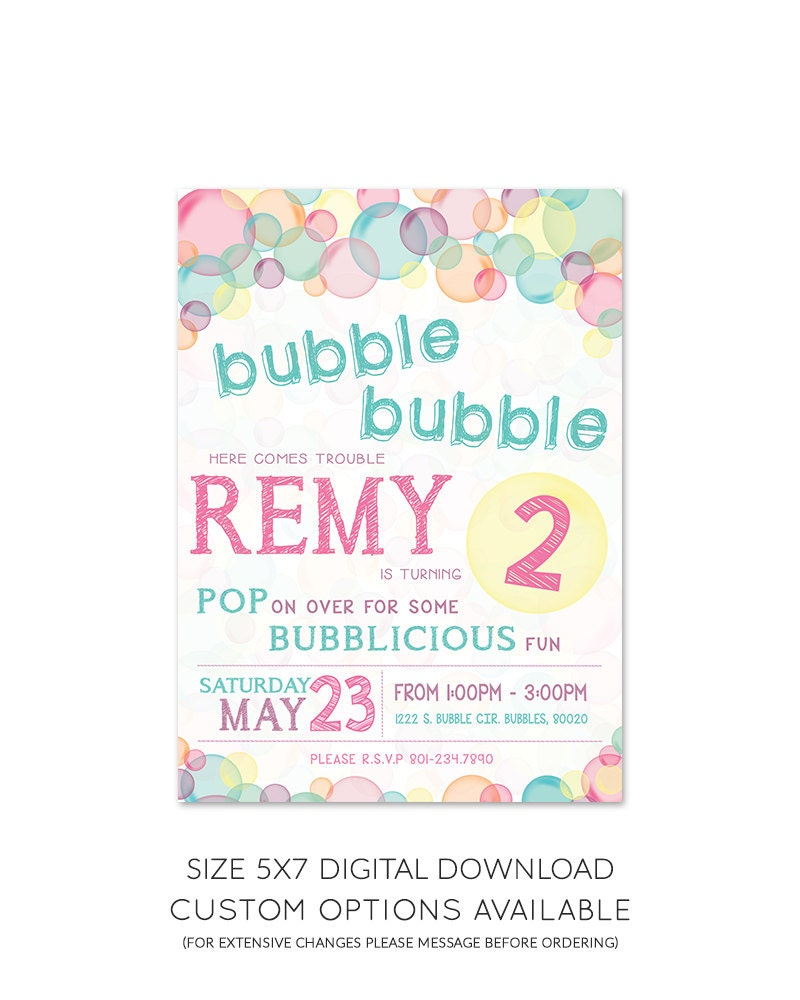 Bubble Theme Birthday Party Invitation 5x7 | Etsy