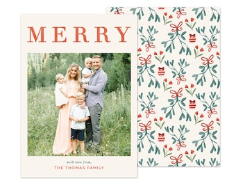 MERRY Family Christmas Photo Card - 5x7 Digital Download