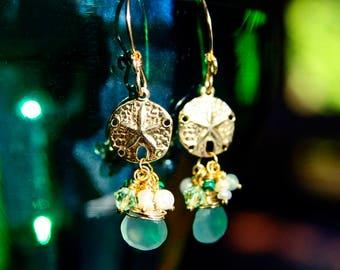 14K Gold Vermeil Sand Dollar Earrings