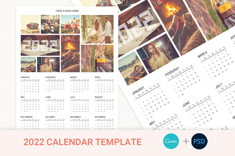 2022 Canva Calendar Template Year Calendar Photo Calendar image 1
