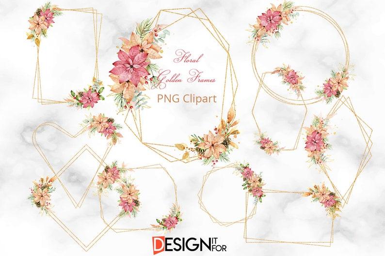 Gold Glitter frame Clipart Christmas Floral Frame clip art image 1